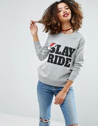 Asos Christmas Sweatshirt With Slay Ride Print Grey Marl