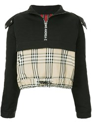 Andrea Crews Mixed Fabric Half Zip Hoodie Black