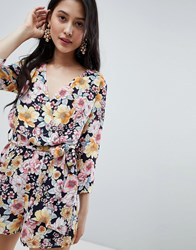 21cf6c72cfc Oh My Love Wrap Front 3 4 Sleeve Playsuit In Floral Print Yellow Floral  Multi