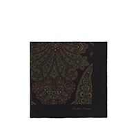 Ralph Lauren Purple Label Paisley Silk Pocket Square Black