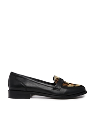 Park Lane Leather Leopard Flat Loafers