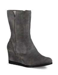 Ugg Joely Suede Wedge Boots Charcoal Grey