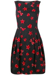 Moschino Heart And Star Print Dress Women Silk Cotton Viscose 40 Black
