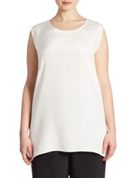 Caroline Rose Silk Crepe Long Tank Top White Black