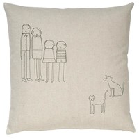 K Studio 4 Person Family Dog And Cat Pillow Grey Red White