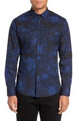 Vince Camuto Men's Slim Fit Sport Shirt Navy Black Dyed Print