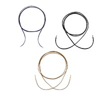 Intua Set Of 3 Suede Chokers With Silver Beadsblack Brown And Navy Blue 2 M 6.5 Feet Silver