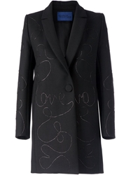 Sharon Wauchob 'Love' Embroidered Coat Black