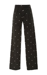 Alexis Mabille Daisy Print Relaxed Pants Dark Grey