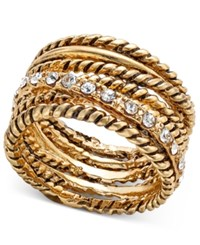Inc International Concepts Textured Pave Statement Ring Created For Macy's Gold