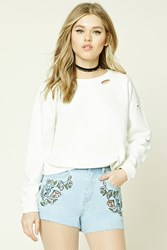 Forever 21 Floral Embroidered Denim Shorts Light Denim