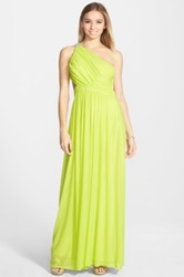 Hailey Logan One Shoulder Open Back Gown Juniors Green