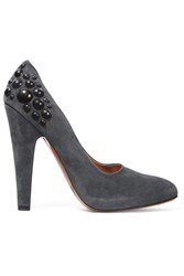 Alaia Stud Embellished Suede Pumps Gray