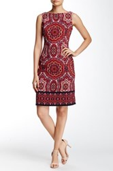London Times Twill Paisley Boatneck Dress Petite Red