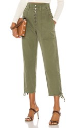 Marissa Webb Laszlo Washed Canvas Pant In Green. Military Green