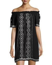 Romeo And Juliet Couture Embroidered Off The Shoulder Dress Black White