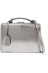 Mark Cross Grace Small Metallic Python Shoulder Bag Gunmetal