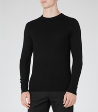 Reiss Romany Mens Textured Crew Neck Jumper In Black