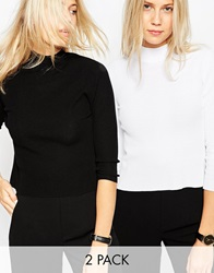 Asos Baby Rib Jumper With Turtle Neck In Structured Knit 2 Pack Blackwhite