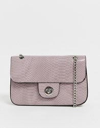 New Look Croc Chain Shoulder Bag In Lilac Purple