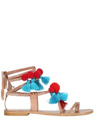 Gia Couture 10Mm Pompoms And Tassels Leather Sandals