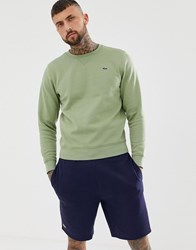 Lacoste Sport Logo Crew Neck Sweat In Khaki Green