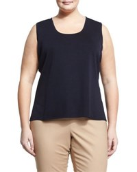 Ming Wang Scoop Neck Knit Tank Navy