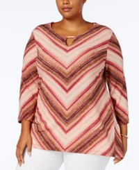 Jm Collection Chevron Print Metallic Top Created For Macy's Style Stripe