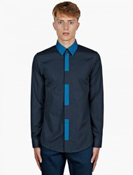Jil Sander Navy Colour Block Placket Shirt