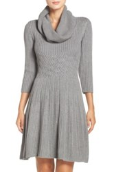 Eliza J Fit And Flare Sweater Dress Gray