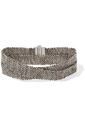 Carolina Bucci Melange Woven 18 Karat White Gold And Silk Wrap Bracelet One Size