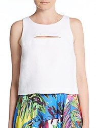 Milly Linen Blend Cutout Crop Top White