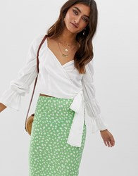 Moon River Back Tie Tiered Sleeve Top White