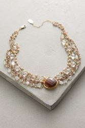 Anthropologie Multilayer Teardrop Choker Pearl Brown Topaz