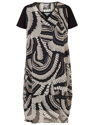 Chesca Printed Cocoon Dress Black White