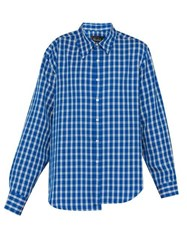 Martine Rose Wonky Asymmetric Checked Shirt Light Blue
