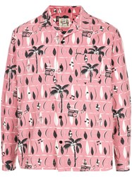 Hysteric Glamour Print Long Sleeve Shirt Pink And Purple