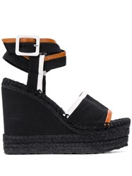 Pierre Hardy Leather Trim Wedge Sandals Black