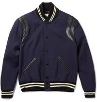 Saint Laurent Leather Trimmed Wool Varsity Jacket Blue