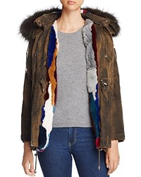 Jocelyn Olive Rabbit Fur And Fox Fur Trim Parka 100 Bloomingdale's Exclusive Multi
