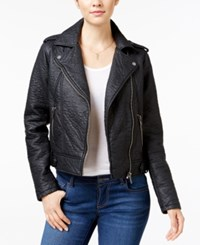 Collection B Faux Leather Asymmetrical Moto Jacket Black