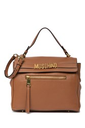 Moschino Fold Over Flap Satchel Brown