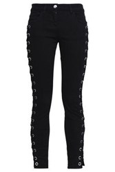 Versus By Versace Lace Up Mid Rise Skinny Jeans Black