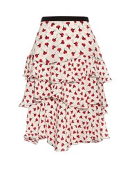 Oscar De La Renta Carnation Print Silk Georgette Skirt Red White