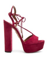 Aquazzura Suede Austin Plateau Heels In Red