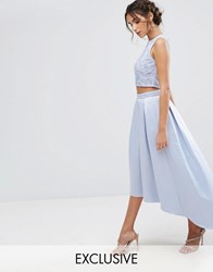 Maya Satin Skirt With High Low Hem And Embroidery Blue