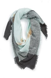 Junior Women's David And Young Square Blanket Scarf Green
