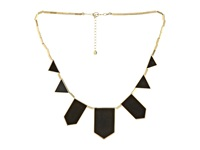 House Of Harlow Plated Five Station Black Leather Necklace 14K Yellow Gold Plated Necklace