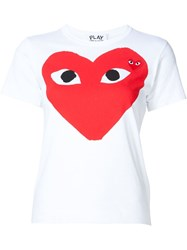 Comme Des Gara Ons Play Heart Print And Application T Shirt