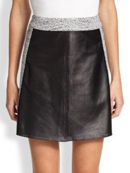 Tess Giberson Perforated Leather And Jacquard Skirt Black